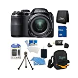 Fujifilm FinePix S4200 24x Optical Zoom 14 MP 3 inch LCD Digital Camera 16 GB Bundle