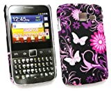 Flash Superstore LCD Screen Protector And Pink Garden Clip On Protection Case/Cover/Skin For Samsung B5510 Galaxy Y Pro