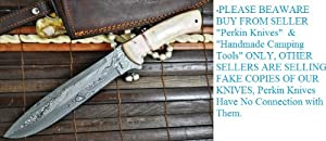 Outstanding Value - Custom Handmade Damascus Hunting Knife - Bowie Knife - Mammoth... by Perkin Knives