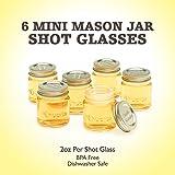 """Smiths Mini Mason Jar set of 6 """"Chupito"""" Shot Glasses with Lids - 2oz Per Shot Glass"""