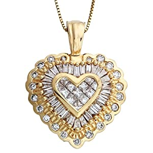 14K Yellow Gold Pave Diamond Heart Pendant Necklace 1 CTW