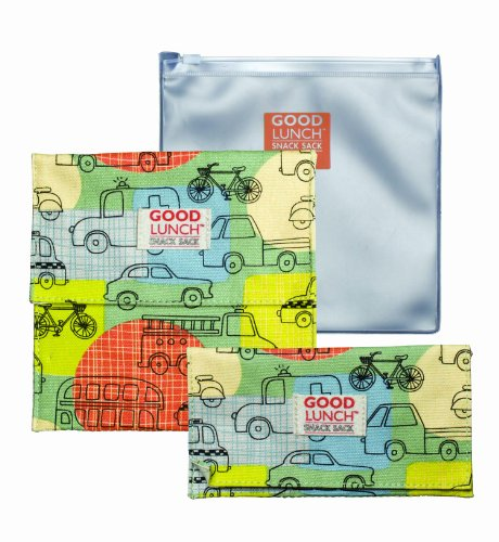 Sugarbooger Good Lunch Snack Sack, Road Trip, 3-Count