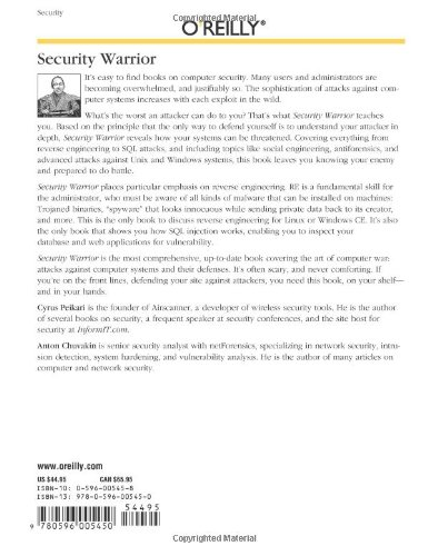 Security Warrior Cyrus Peikari Anton Chuvakin Oreilly & Associates Inc