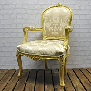 Antique Gold Frame Cream Damask Louis Bedroom Chair
