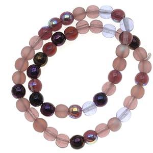 Beadaholique Czech Glass Druk 50-Piece Round Beads, 6mm, Lilac Purple Mix