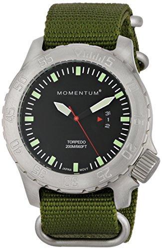 Momentum  1M-DV74B7G - Reloj de cuarzo para hombre, con correa de nailon, color verde