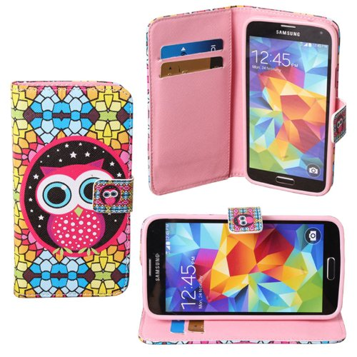 Teenitor (Tm) Dream Owl (Soft Tpu Inner) Flip Leather Credit Card Wallet Protective Case For Samsung Galaxy S5 + Screen Protector + Stylu + Earphone Cable Organizer (Shipping From Usa)