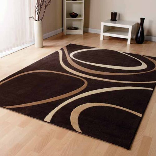 Modern Brown Cream Beige Modern Designer Carpet Home Rug 3 Sizes Available, 160cm x 230cm (5ft 6'' x 7ft 7'')