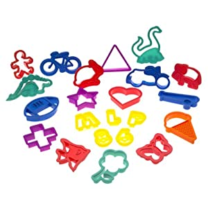 Image: Roshco 100-Piece Plastic Cookie Cutter Set - 100 shapes include numbers, letters, geometric forms, animals, plants, vehicles