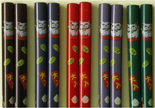 5 Pairs Japanese Bamboo Lucky Cat Neko Chopsticks