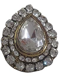 Teardrop Shaped Crystal Adjustable Ring By Triveni