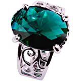 Yazilind Women's Ring with 12*1Mmm 1MCT Oval Cut Green Topaz Gemstones Silver Ring