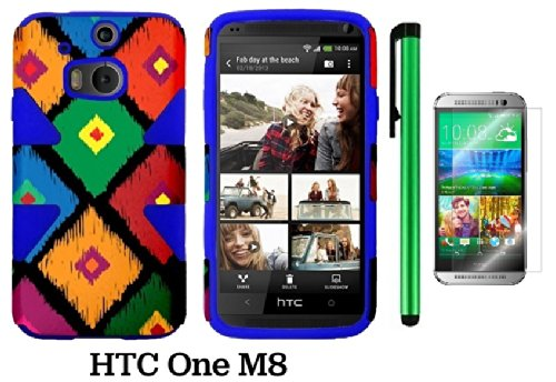 Htc One (M8) Dynamic Slim Hybrid Premium Pretty Design Protector Cover Case + Screen Protector Film + 1 Of New Assorted Color Metal Stylus Touch Screen Pen (Colorful Frame Tribal Plastic / Blue Silicone)