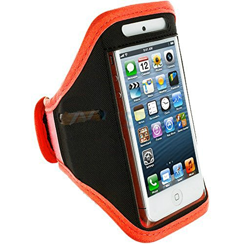 Mylife (Tm) Orange + Black Velcro Strap (Light Weight Flexible Neoprene + Secure Running Armband) For Apple Iphone 5C, 5S And 5 (5G) 5Th Generation Itouch Phone (Universal One Size Fits All + Velcro Secured + Adjustable Length + Pu Leather Trim All Top Po