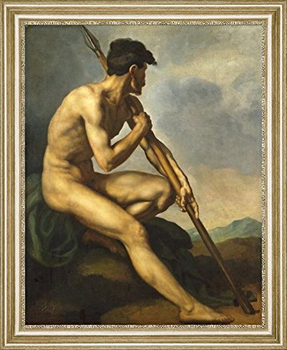 "Nude Warrior with a Spear by Theodore Gericault - 20"" x 25"" Framed Premium Canvas Print"