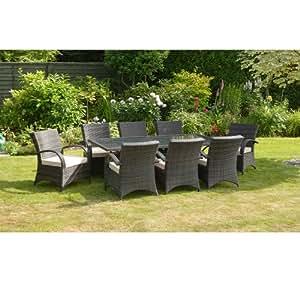 dallas 8 seater rattan dining set brown rattan garden furniture set