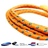 HD UltraTech - ORANGE - 1M Braided Micro USB Sync Data Charger Cable For Samsung Galaxy S2 S3 S4 Note 2 3 Ace Blackberry HTC Nokia LG Sony (Orange)