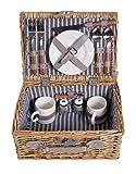 Picknick Korb komplett Porzellan Geschirr 2...