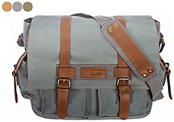 """Observ Classic Laptop Messenger Bag, Gray - Large Canvas Pack for Laptops 13"""", 14"""" and up to 15.6 Inches"""