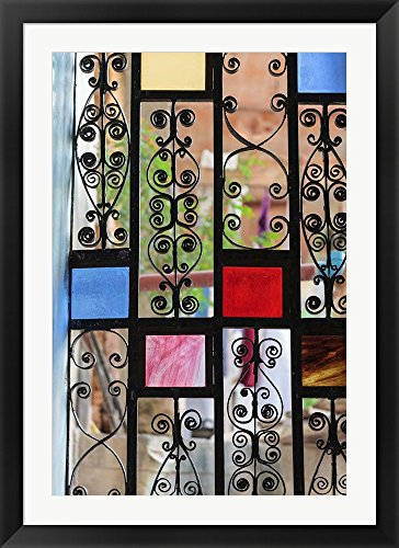 Africa, Tanzania, Zanzibar, Stone Town. Stained glass and iron door. by Alida Latham / Danita Delimont Framed Art Print Wall Picture, Black Flat Frame with Hanging Cleat, 32 x 44 inches