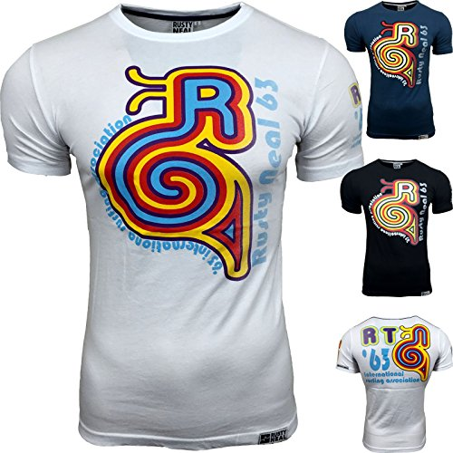 AVRONI Herren Kurzarm Rundhals T-Shirt A13512 Blau Schwarz Weiß Gr M L XL NEU, Größe:S;Farbe:Petrol