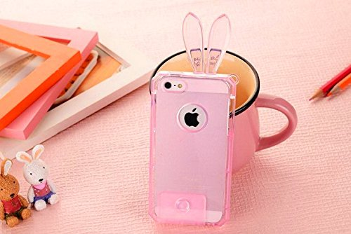 Unitewell Crystal Clear Pink Bunny Rabbit Ears Tpu Protective Cover Carrying Case For Iphone 4 4S front-929503