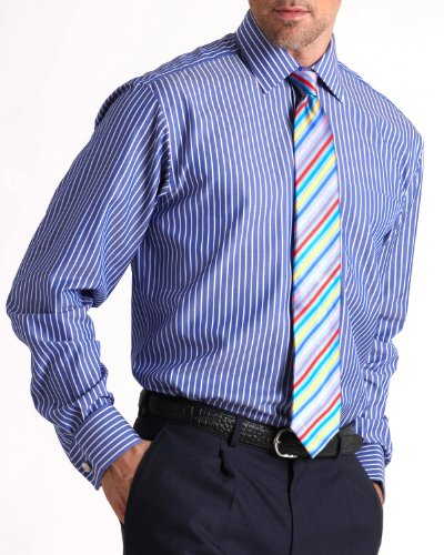 Savile Row Mens Royal Blue Wide Reverse Bengal Stripe Classic Fit Formal Shirt Neck Size 16