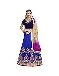 Blue And Navy Blue Heavy Net And Velvet Designer Lehenga Choli Semi Stitched
