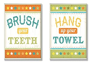 """The Stupell Home Décor Collection Bathroom Wall Art Signs """"Brush Your Teeth"""" and """"Hang Up Your Towel"""" Duo Plaque"""