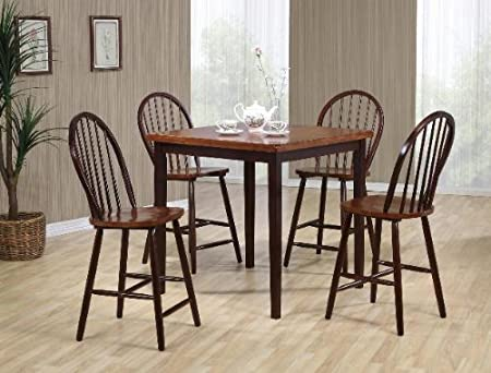Pickney 5 Pc Black and Oak Counter Height Dinette Set