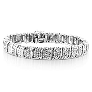 1.00ct TDW Diamond S-Link Bracelet in Sterling Silver - 7.25