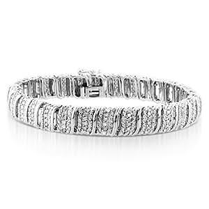 "1.00ct TDW Diamond S-Link Bracelet in Sterling Silver - 7.25"""