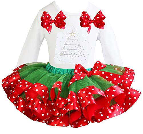 Kirei Sui Girls Green Red Polka Dots Satin Tutu Rhinestone Xmas Tree Tee
