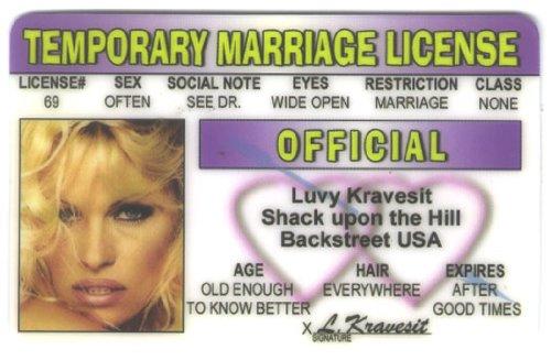 Temp Marriage License Fun Fake ID License