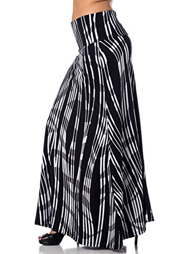 Printed Maxi Length A-line skirt with rollover waist - Stagehand, 2XL
