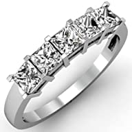 1.00 Carat (ctw) 14k White Gold Princess Cut White Diamond Ladies 5 Stone Bridal Wedding Band Ring 1…