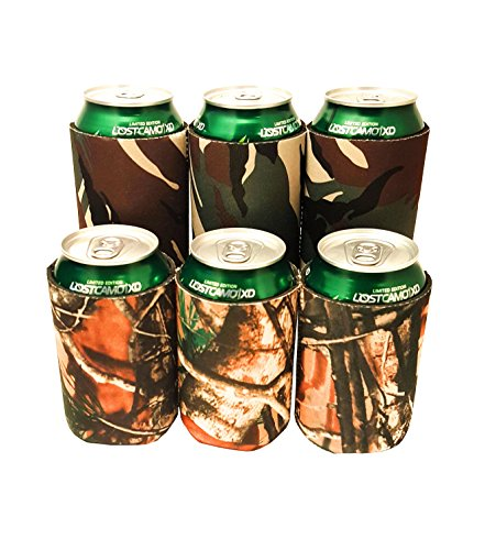 Camo Can Sleeve Cooler, Great Neoprene Travel Insulated Holder for Beer & Soda. (6 Pack) Outdoors & Traditional Camouflage. (Camo Can Koozie compare prices)