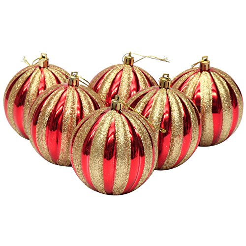 Sea Team 80mm Shatterproof Painting & Glitering Christmas Ornaments Christmas Balls, 6-Pack, Red-5