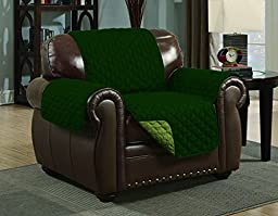 Quilted Reversible Microfiber Pet Dog Couch Furniture Protector Cover (Chair, Sage/Hunter Green)