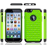Iphone 6 Case, Meaci® Cellphone Case for Iphone 6 (4.7 Inch) 2 in 1 Case Combo Hybrid Case Glitter/bling Diamond Dual Layer Pc and Silicon Rubber Protective Case (green and black)