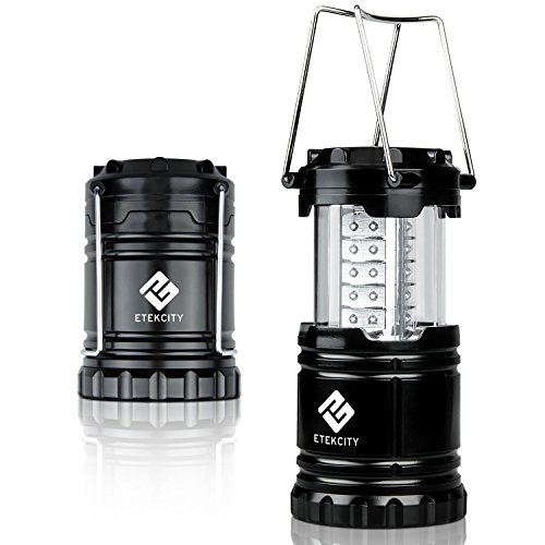 Etekcity Ultra Bright Portable LED Camping Lantern Flashlights (Black, Collapsible)
