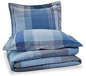 Pinzon Lightweight Cotton Flannel Duvet Set - King, Blue Plaid