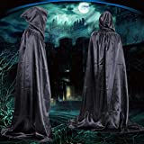 Oksale® Halloween Death Hooded Fluff Fiber Cloak Adult Long Section Of Mopping The Floor Masquerade Cope Robe (black)