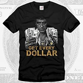 style3 Tony Montana Get Every Dollar T-Shirt Homme, Taille:3XL