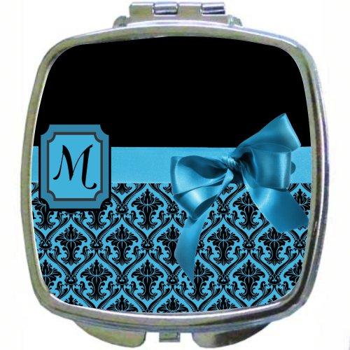 "Rikki Knighttm Letter ""M"" Sky Blue Monogram Damask Bow Design Compact Mirror front-1031515"