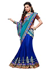 Dark And Light Blue Shaded Faux Georgette And Net Lehenga Saree With Blouse