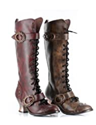 VINTAGE GOTHIC STEAMPUNK LOW HEEL KNEE HIGH MILITARY BOOTS