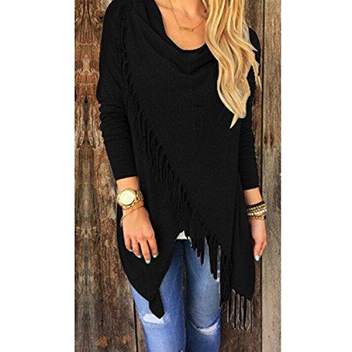 Women Long Sleeve Wrapped Fringe Sweater T-shirt Tassels Coat Classic Black Size S