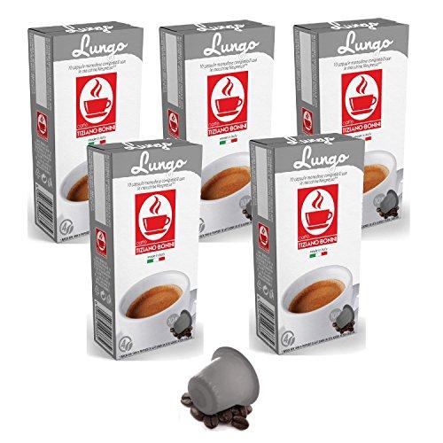 Order Bonini Coffee Capsules, Lungo - Nespresso Compatible- 5-Pack (5x10 Capsules) - Caffè Tiziano Bonini