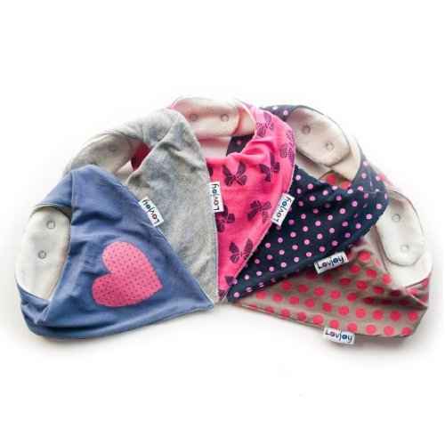 Lovjoy Bandana Bibs - Pack of 5 Girls Designs (Love Polka)
